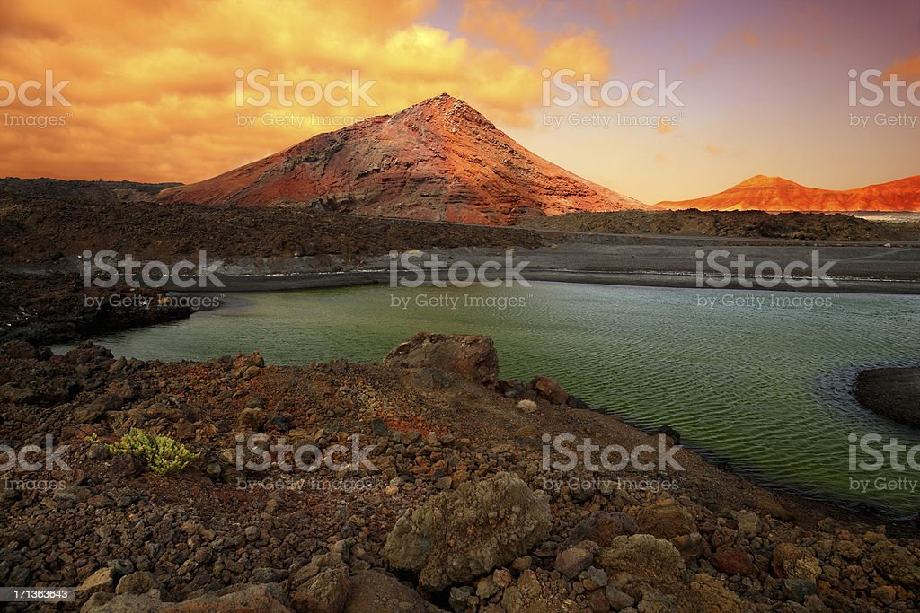 Timanfaya National Park at Lanzarote island, Spain stock photo