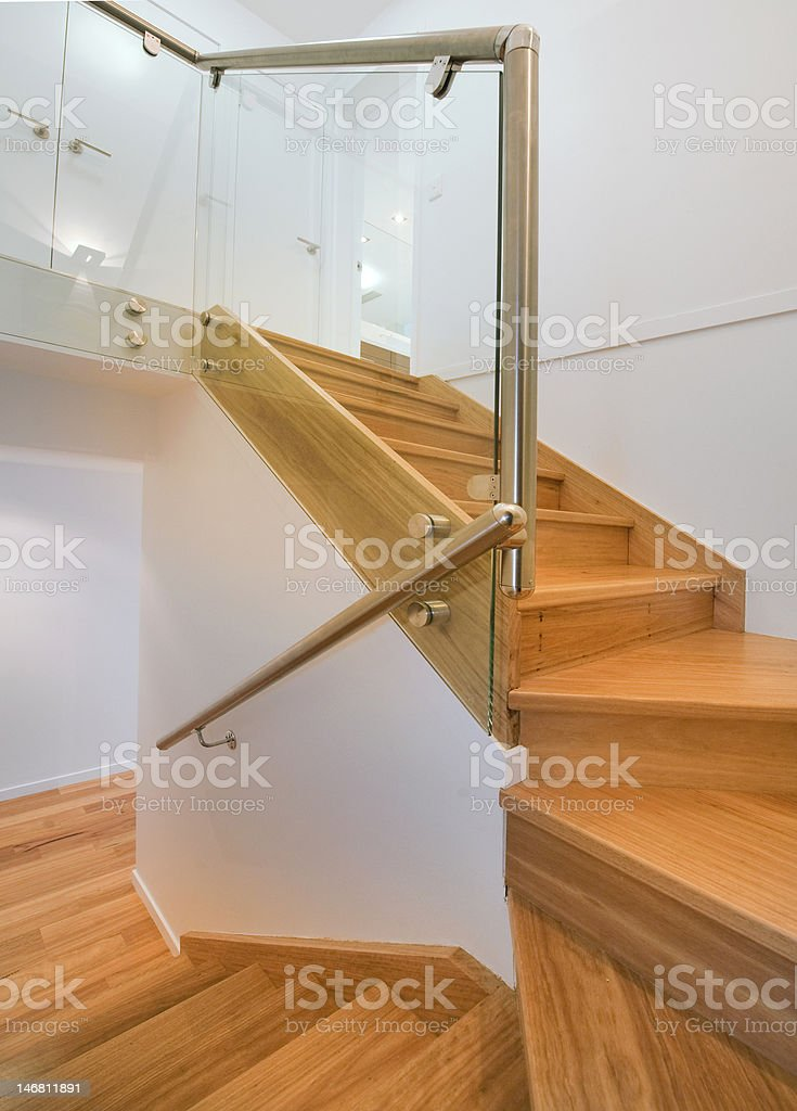 TImber and Chrome Staircase royalty-free stock photo
