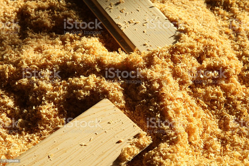 Timber and wood chips background stock photo