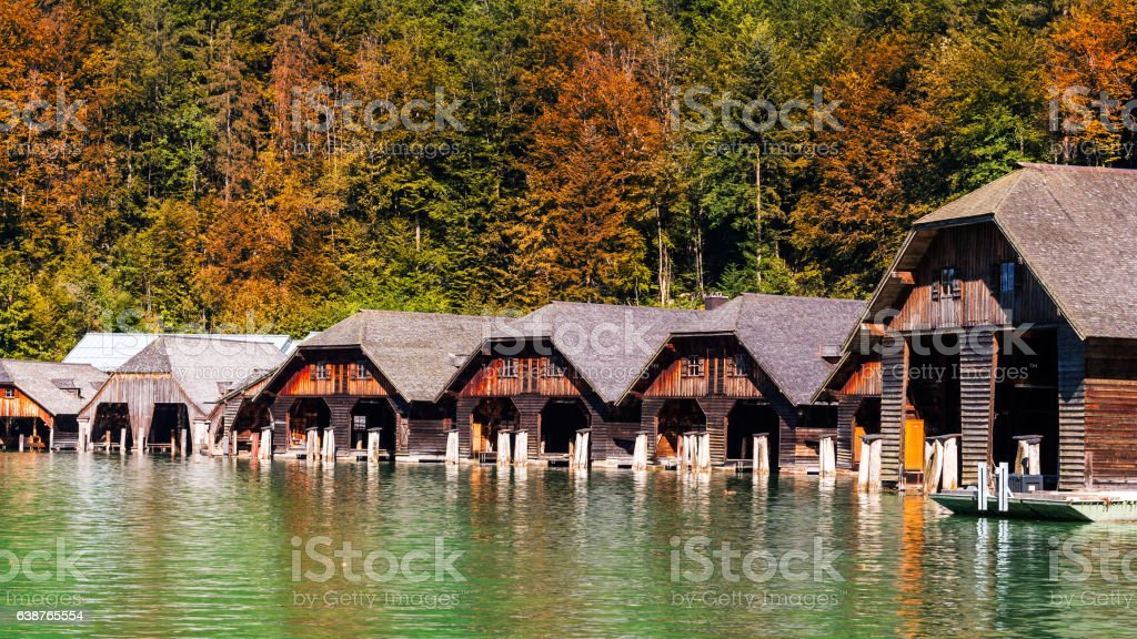 Timber boathouses or sheds by the lake. stock photo