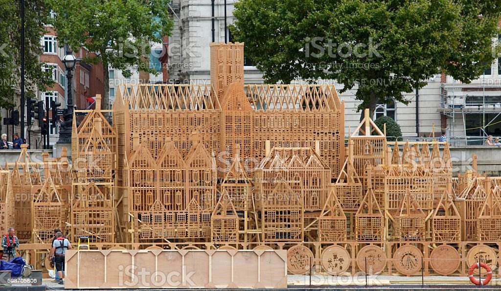 Timber built Structure to commemorate Great fire of London stock photo