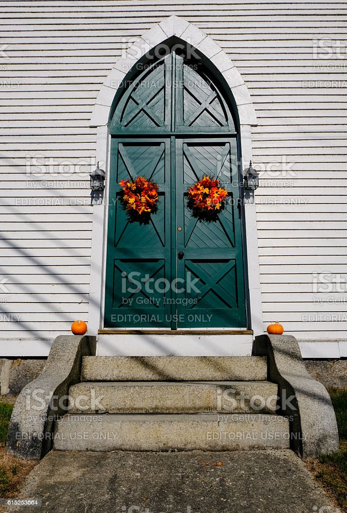Timber Church Entrance Seen In New England, USA stock photo