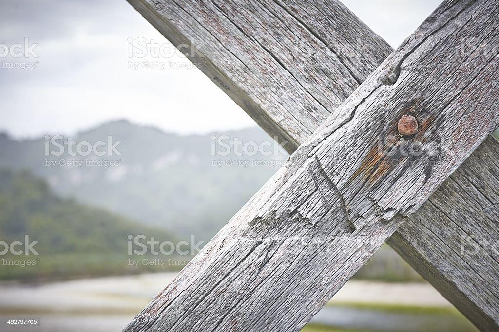 Timber cross members stock photo