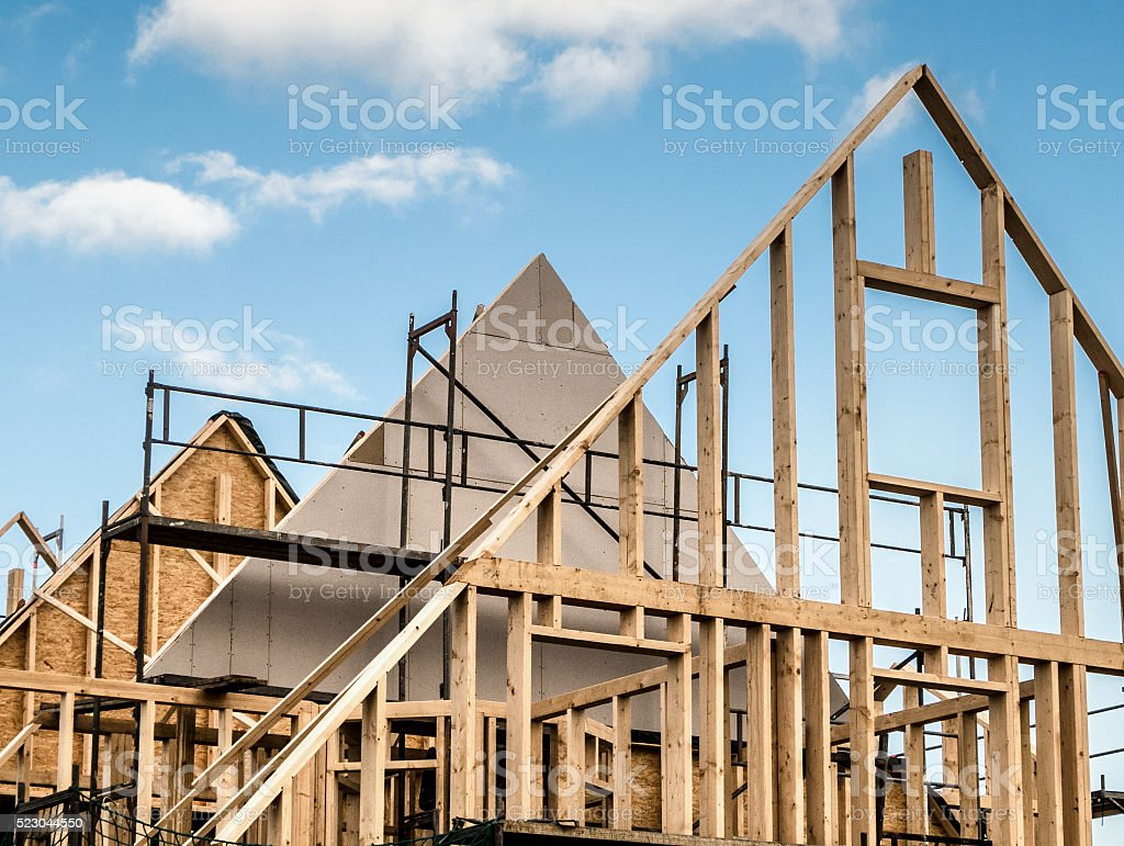 timber frame construction home stock photo