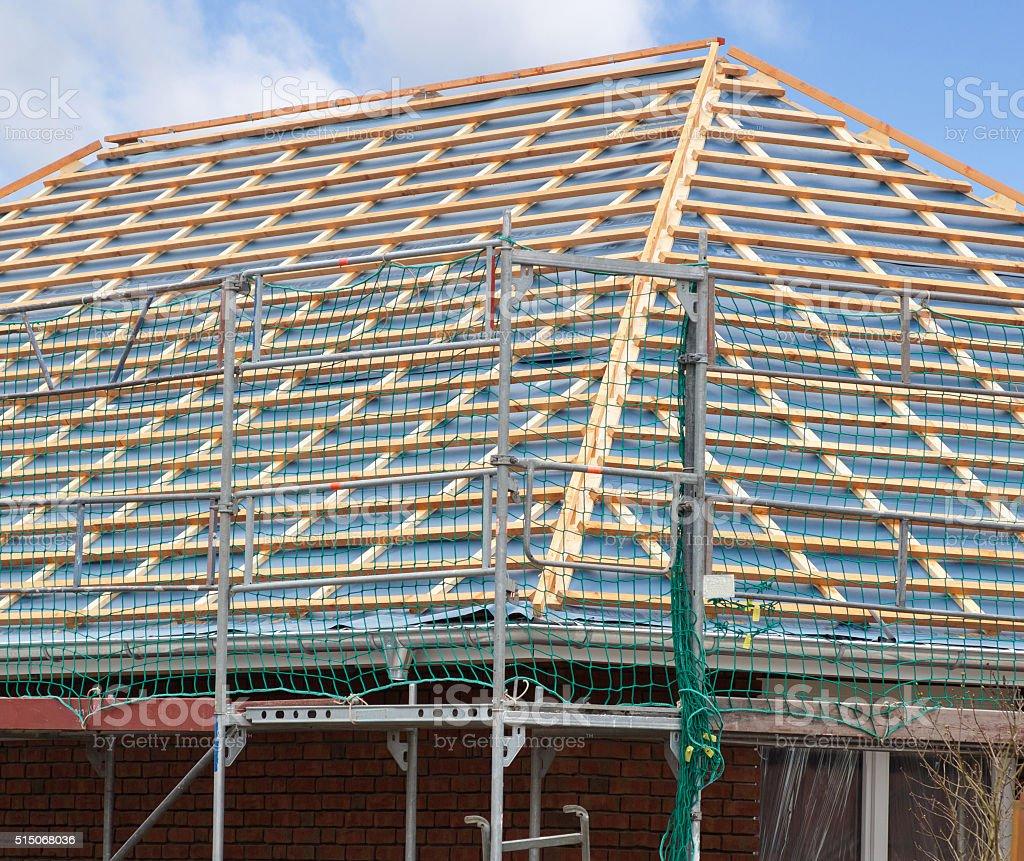 timber frame construction stock photo