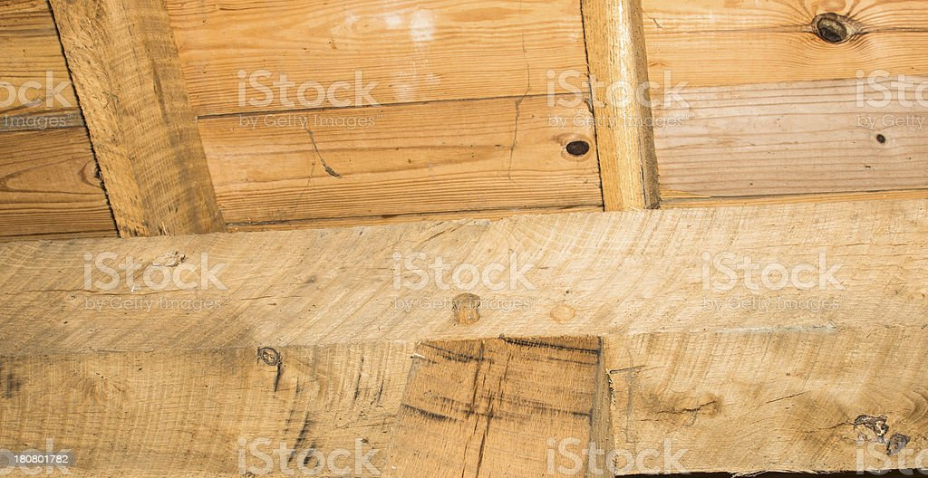 Timber Framing Joint-Pegged Mortise and Tenon stock photo