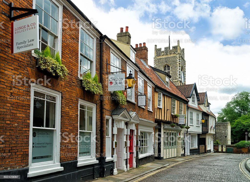 Timber Hill, Norwich, with St George Tombland stock photo