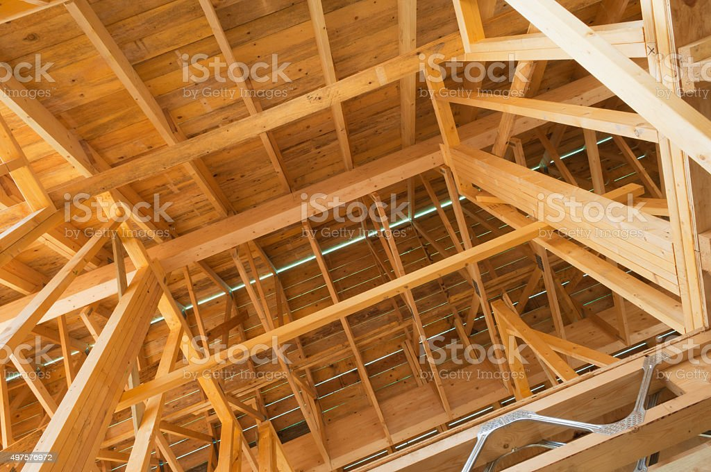 Timber house frame stock photo