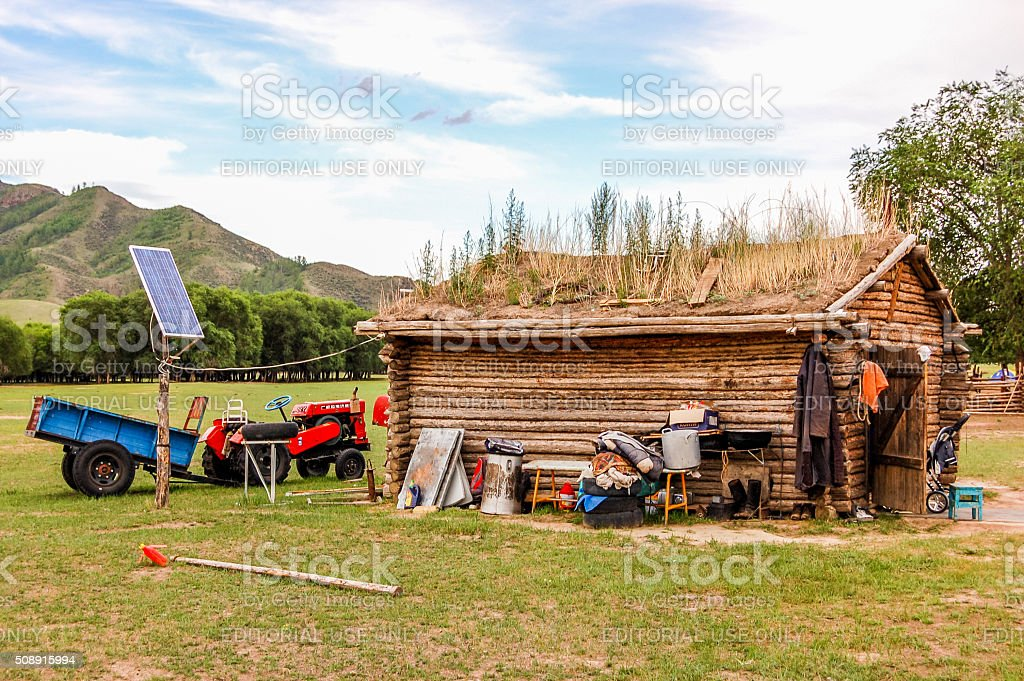 Timber house in Central Mongolia stock photo