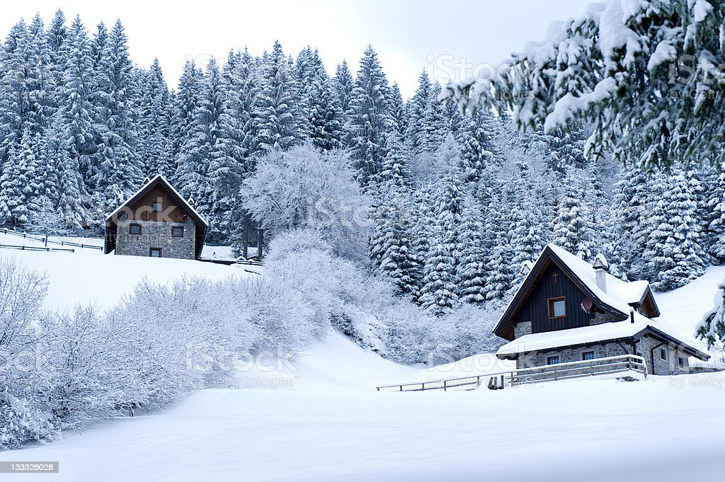 Timber Houses In Snowy Landscape royalty-free stock photo