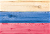 Timber planks in the shape of a Russian flag