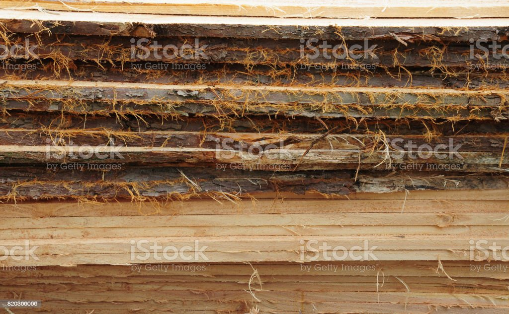 Timber planks with bark edges piled in a stack stock photo