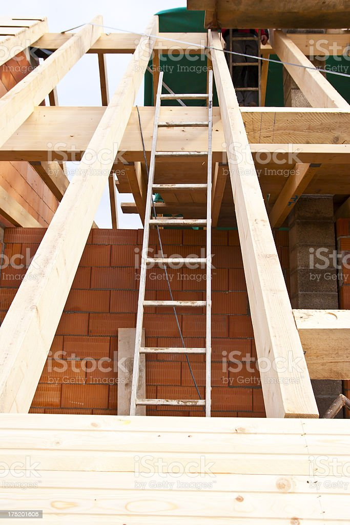 Timber Roof Construction stock photo