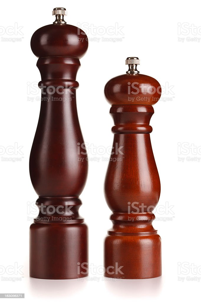 Timber Salt and Pepper Grinders + Clipping Path stock photo