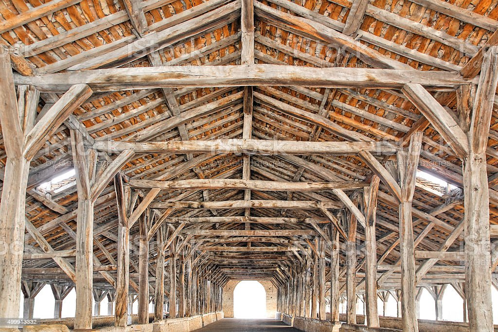 Timber structure and oak beams halls from the 15th century stock photo