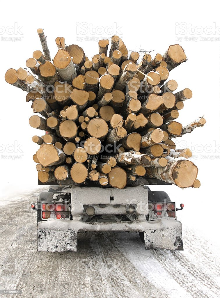 Timber truck stock photo