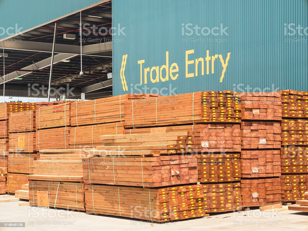 Timber yard in a hardware store stock photo