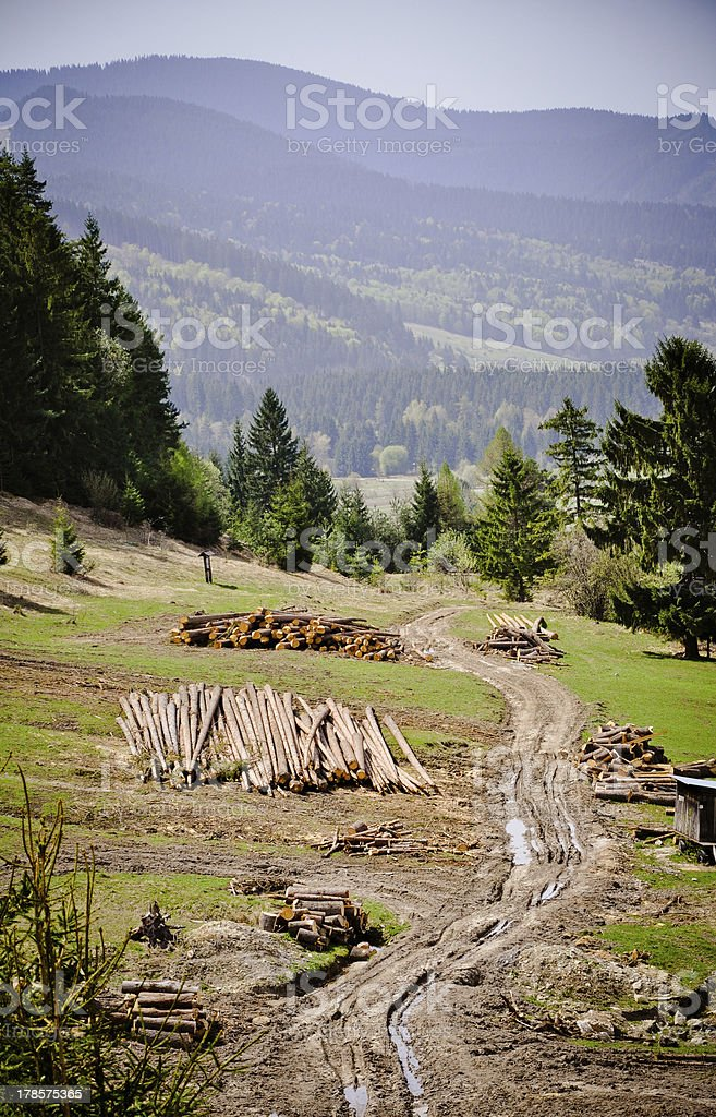 Holz Hof im Low Tatra-Gebirge Lizenzfreies stock-foto