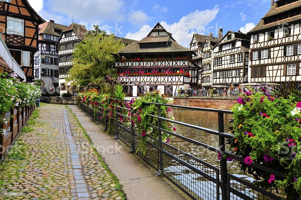 Timbered houses along the canals of Strasbourg, France stock photo
