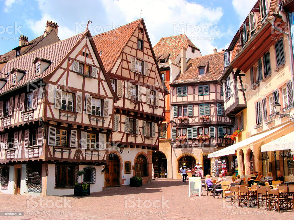 Timbered houses of Colmar, France stock photo