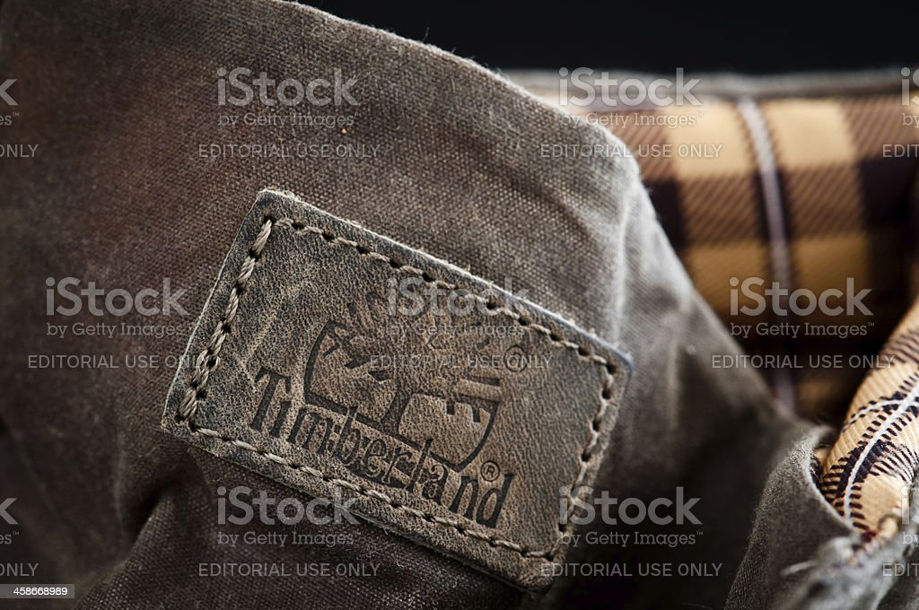Timberland boots detail stock photo