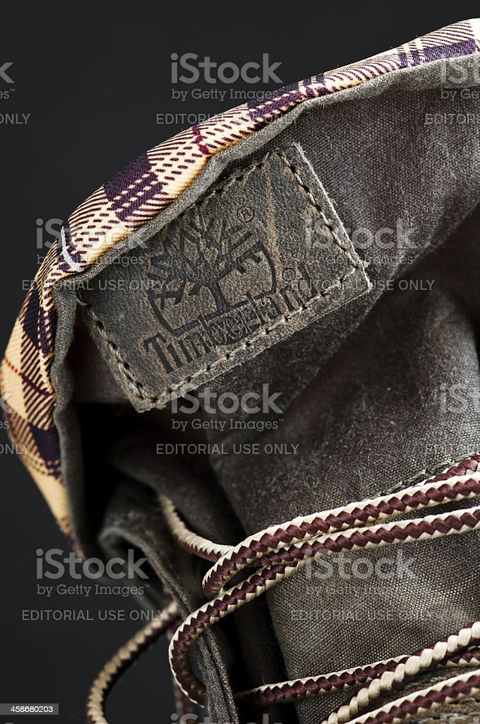 Timberland boots detail royalty-free stock photo