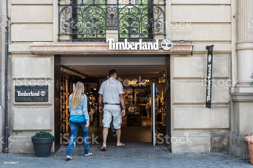 Timberland shop, Barcelona stock photo