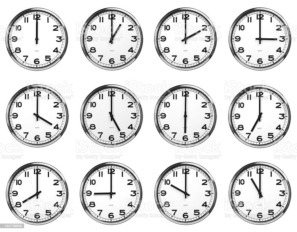 time 12 clocks - clipping path royalty-free stock photo