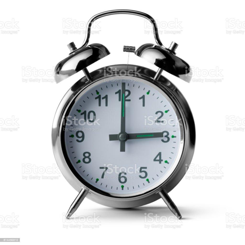 Time: Alarm Clock Isolated on White Background stock photo