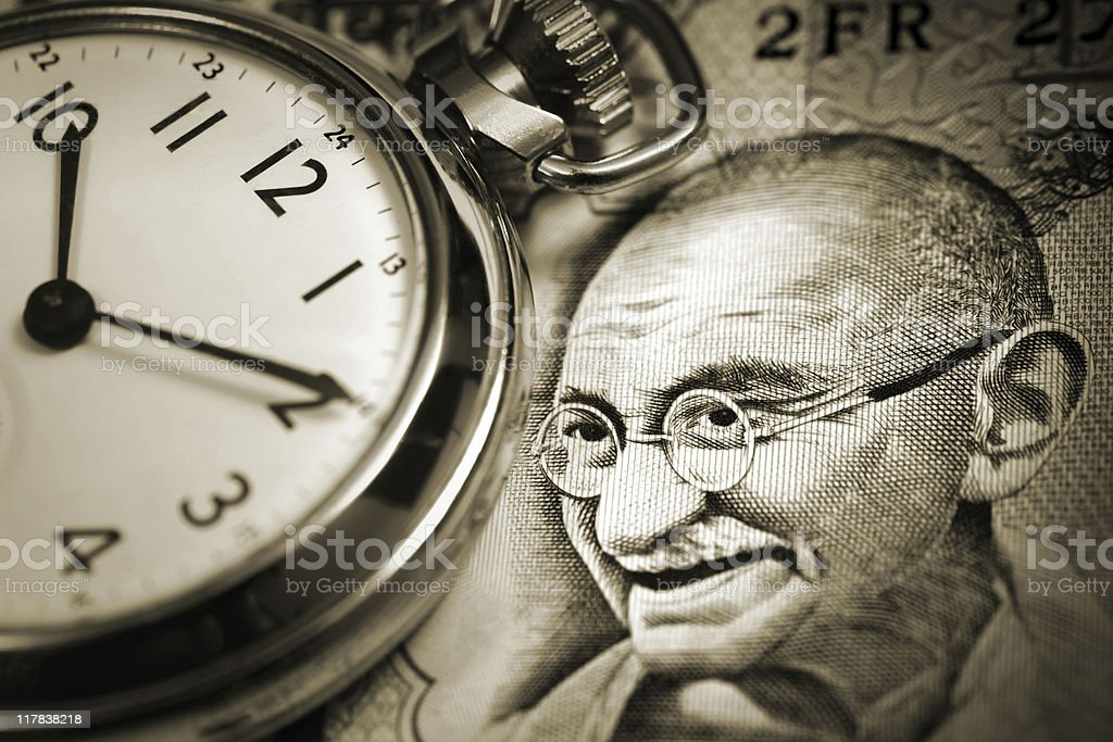 Time and Gandhi royalty-free stock photo