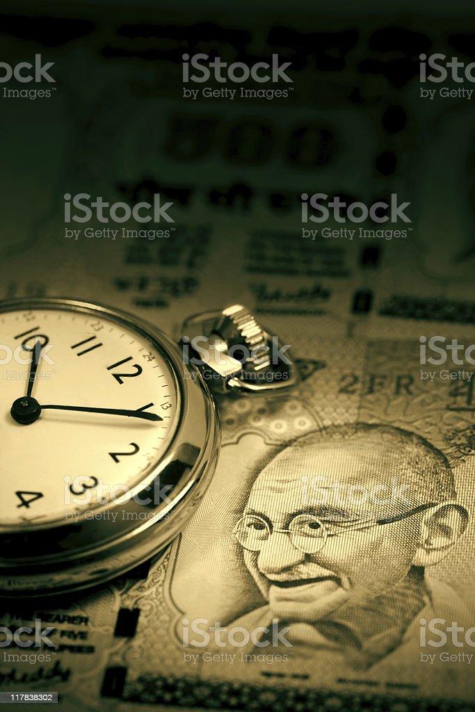 Time and Mahatma Gandhi stock photo