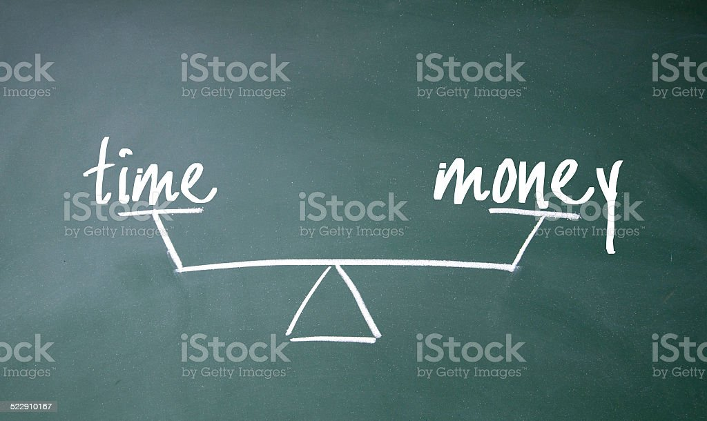 time and money balance sign stock photo