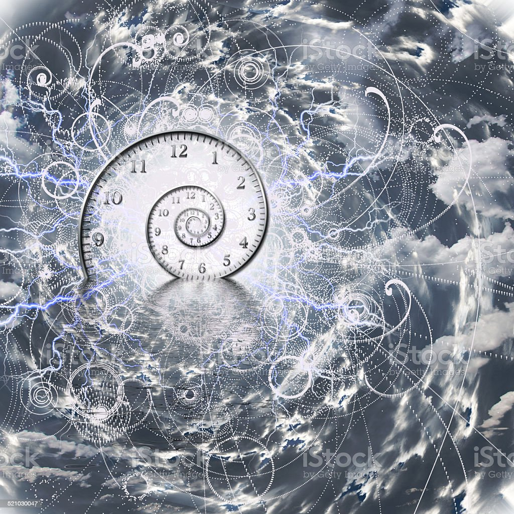Time and Quantum Physics vector art illustration