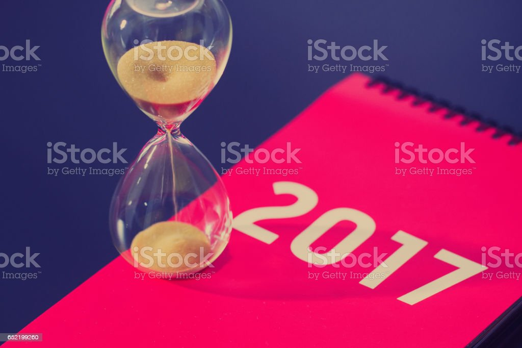 Time and the hourglass, calendar date, the end of time stock photo