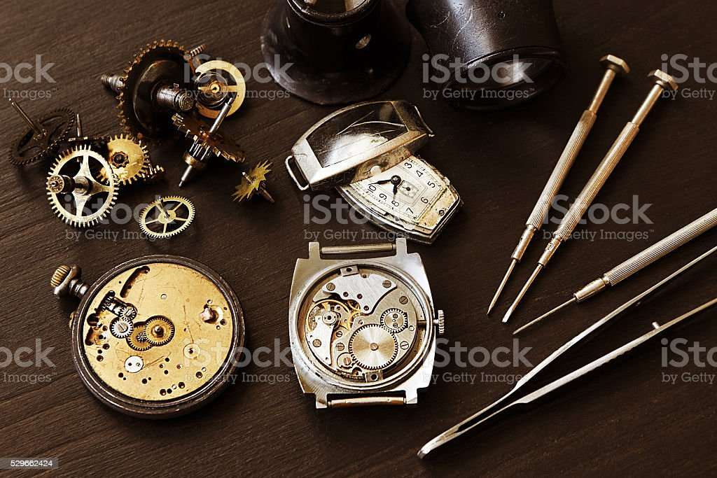 Time and watch parts stock photo