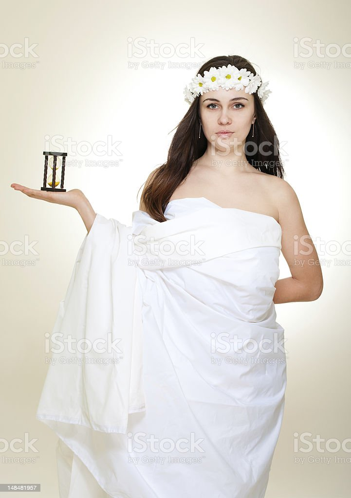 Time antique concept with young woman in chamomile royalty-free stock photo