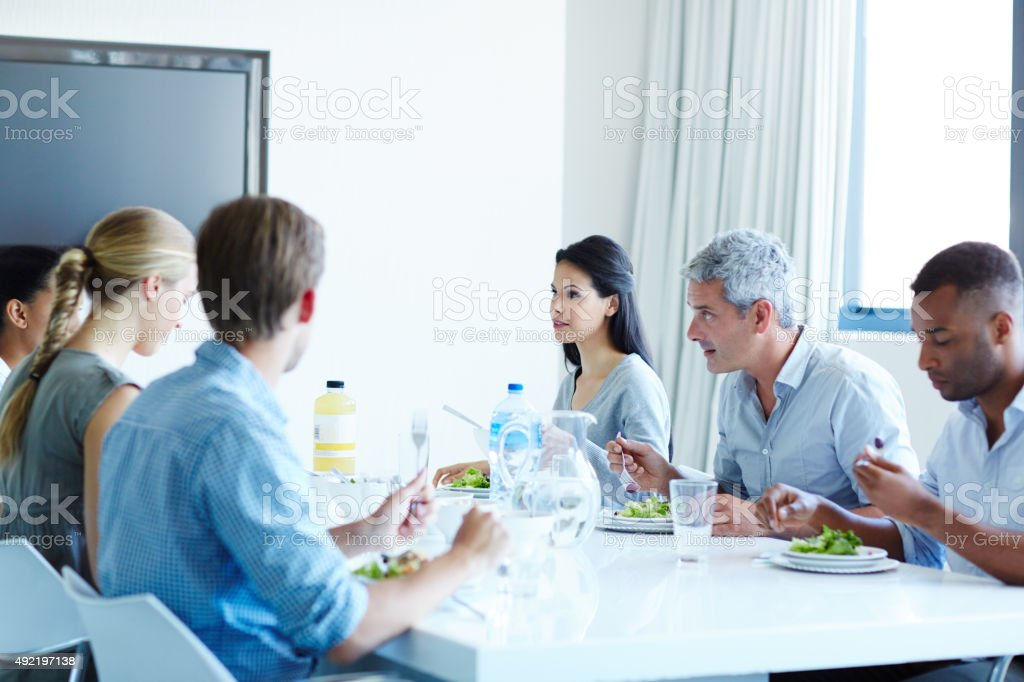 Time away from their desks with their team stock photo