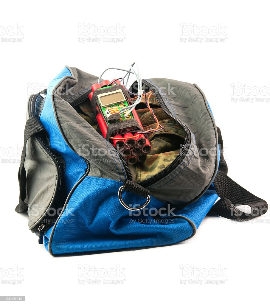 time bomb in bag stock photo
