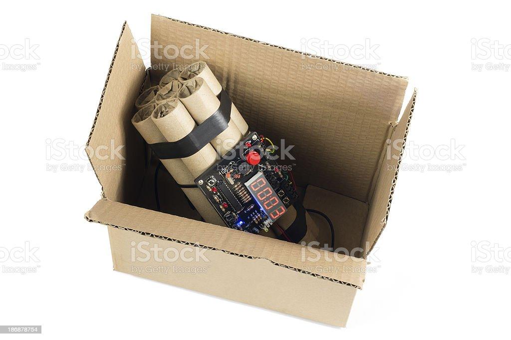 Time Bomb in Cardboard Box stock photo