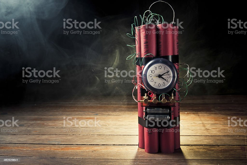 time bomb on a dark background stock photo
