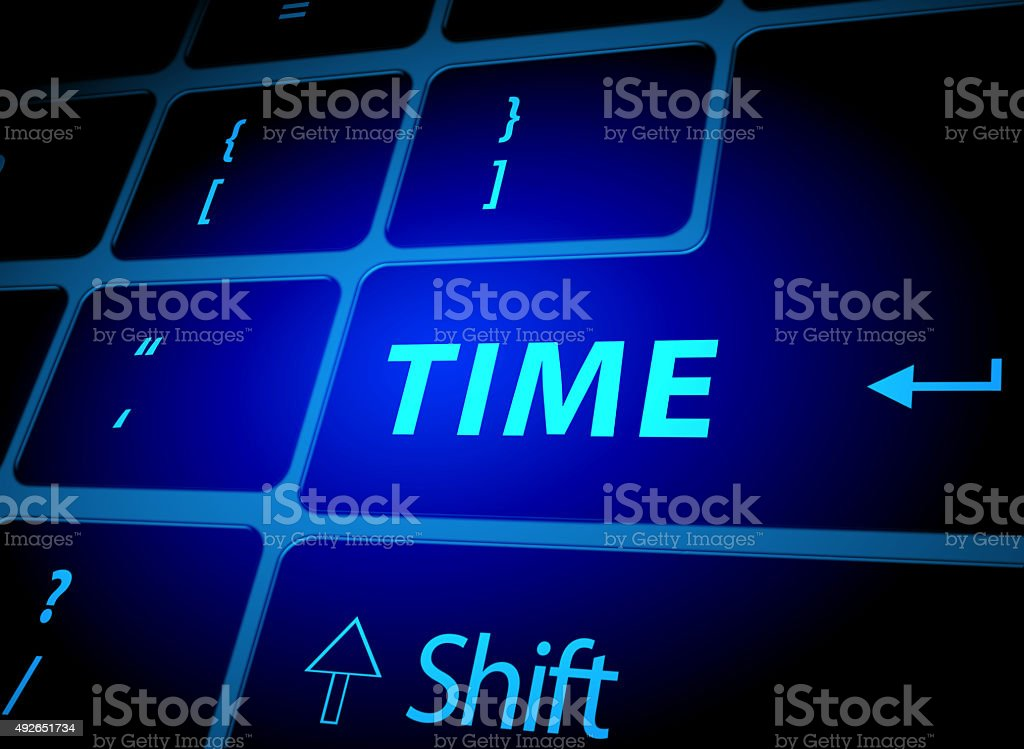 Time button on computer keyboard vector art illustration