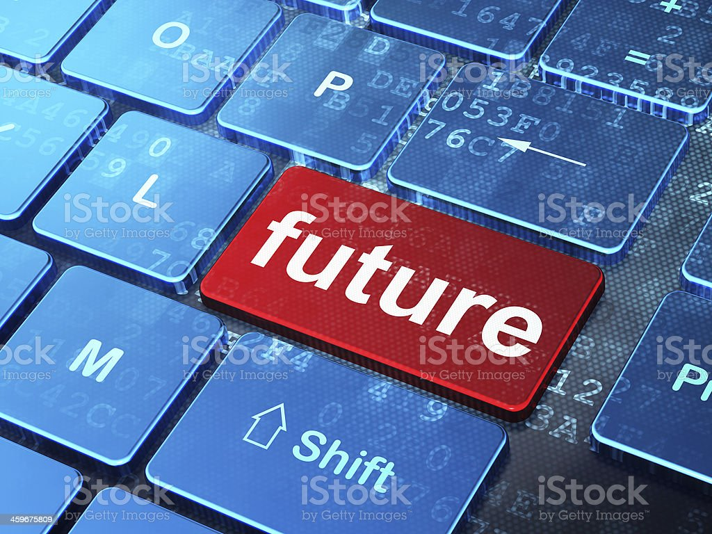 Time concept: Future on computer keyboard background stock photo