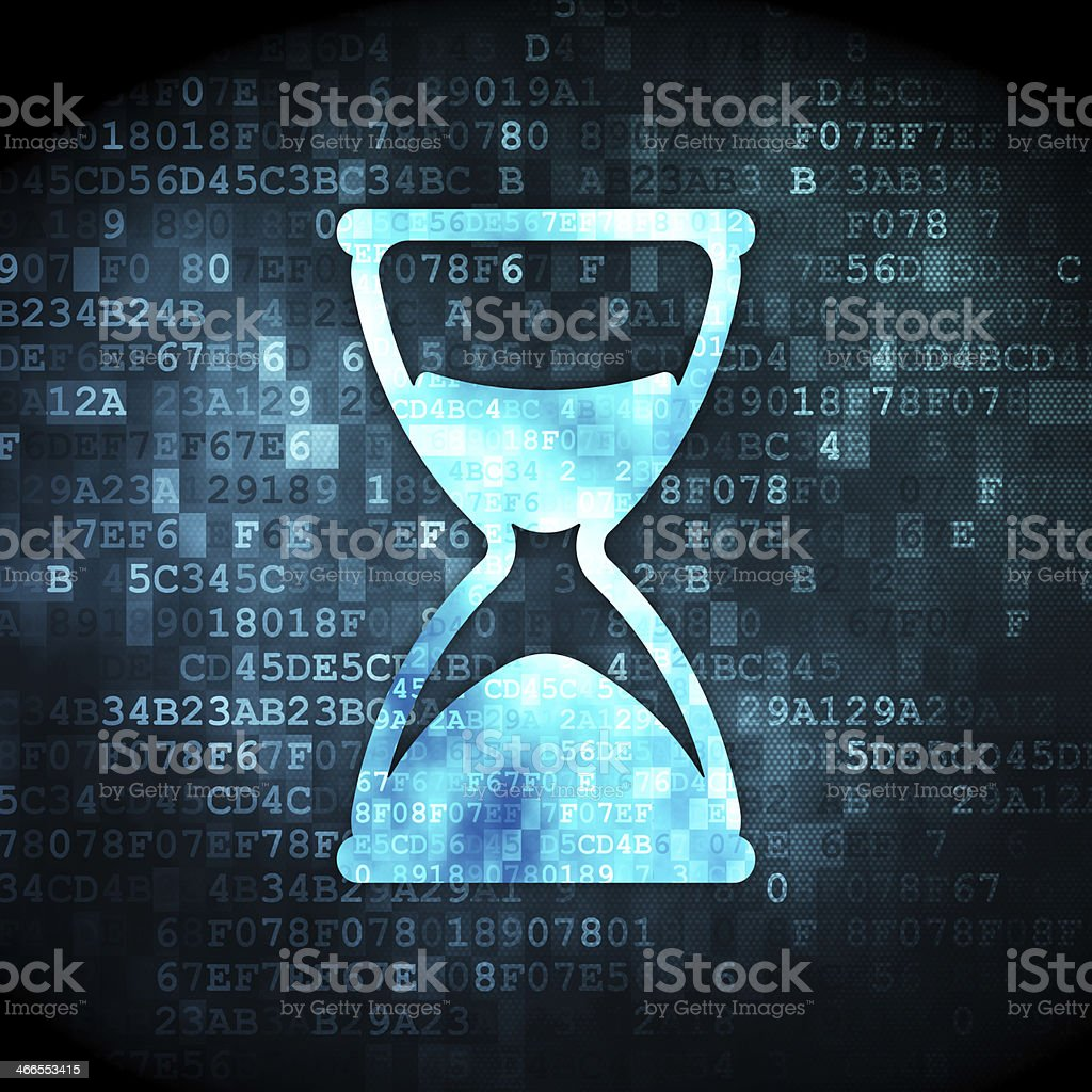 Time concept: Hourglass on digital background stock photo