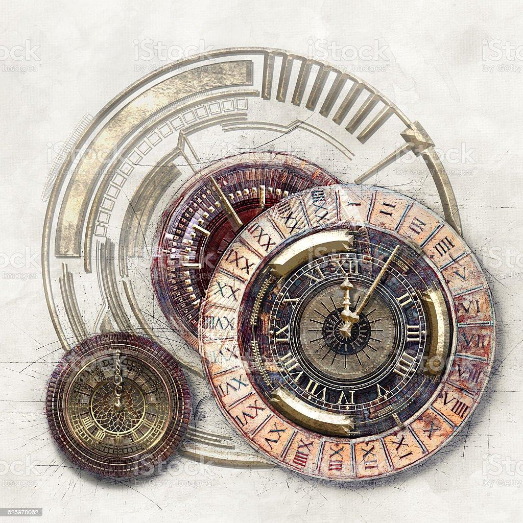 Time Disks, 3D illustration stock photo