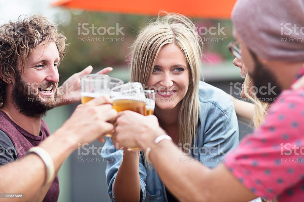 Time for a beer with my friends stock photo