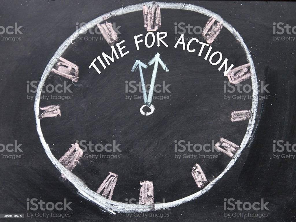 time for action clock sign stock photo