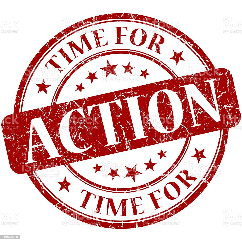 Time for action red round grungy vintage isolated rubber stamp stock photo