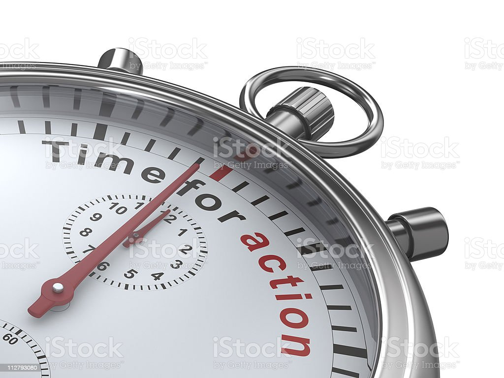 Time for action. Stopwatch on white background. Isolated 3D imag stock photo