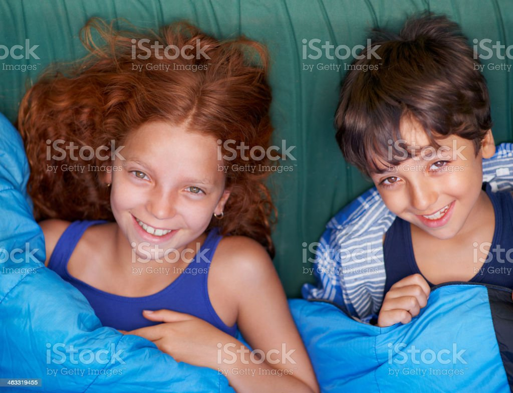 Time for bed after a great day outdoors stock photo