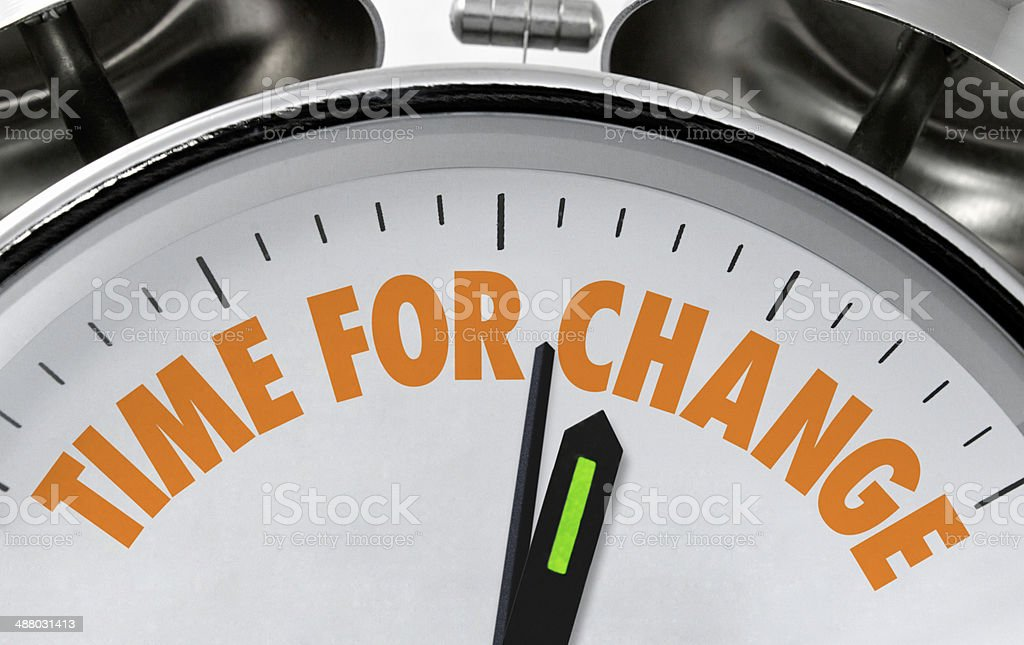 Time for change clockface stock photo